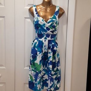 Studio I Bright Blue Print Dress 8